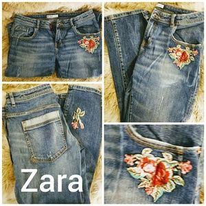 Zara jeans with flower embellishments